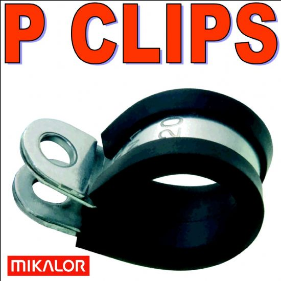 Mikalor Rubber Lined Stainless Steel or Cr3 Zinc Plated P Clips Pipe Clamps